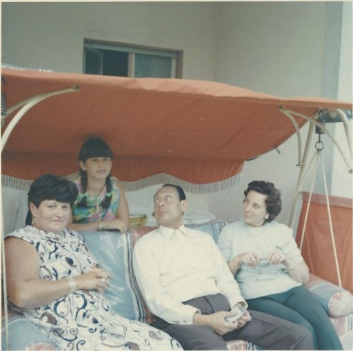 """<p><span style=""""font-weight: 400;"""">Anna Gutman (Boros) (left) and her daughter, Carla (second from left), visit with Dr. Mohamed Helmy (secone from right) and his wife, Emmi (right), in Berlin in 1968. Dr. <a href=""""/narrative/45338/en"""">Helmy</a> hid Gutman in his home for the duration of World War II. </span></p>"""