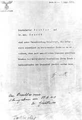 "<p>Adolf Hitler's authorization for the <a href=""/narrative/4032/en"">Euthanasia Program</a> (Operation T4), signed in October 1939 but dated September 1, 1939.</p>"