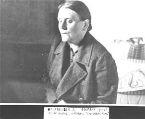 <p>Head nurse of the children's ward at the Kaufbeuren-Irsee euthanasia facility. Kaufbeuren, Germany, 1945.</p>