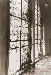 "<p>The shattered stained glass windows of the Zerrennerstrasse synagogue after its destruction on <a href=""/narrative/4063/en"">Kristallnacht</a>. Pforzheim, Germany, ca. November 10, 1938.</p>"