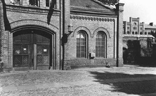 """<p>Entrance to the Ploetzensee prison. At Ploetzensee, the Nazis executed hundreds of Germans for opposition to Hitler, including many of the participants in the <a href=""""/narrative/12002/en"""">July 20, 1944, plot to kill Hitler</a>. Berlin, Germany, postwar.</p>"""