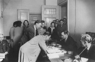 "<p>Danish refugees register in Sweden after escaping from <a href=""/narrative/4236/en"">Denmark</a>. Sweden, after October 1943.</p>"