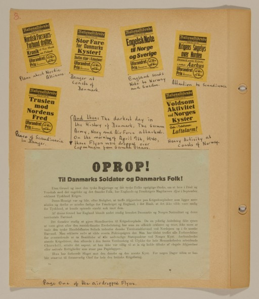 """<p>Page from volume 1 of a set of scrapbooks compiled by Bjorn Sibbern, a Danish policeman and resistance member, documenting the German occupation of <a href=""""/narrative/4236/en"""">Denmark</a>. Bjorn's wife Tove was also active in the Danish resistance. After World War II, Bjorn and Tove moved to Canada and later settled in California, where Bjorn compiled five scrapbooks dedicated to the Sibbern's daughter, Lisa. The books are fully annotated in English and contain photographs, documents and three-dimensional artifacts documenting all aspects of the German occupation of Denmark. This page contains a flyer air-dropped from a German airplane.</p>"""