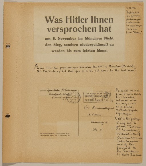 """<p>Page from volume 4 of a set of scrapbooks compiled by Bjorn Sibbern, a Danish policeman and resistance member, documenting the German occupation of <a href=""""/narrative/4236/en"""">Denmark</a>. Bjorn's wife Tove was also active in the Danish resistance. After World War II, Bjorn and Tove moved to Canada and later settled in California, where Bjorn compiled five scrapbooks dedicated to the Sibbern's daughter, Lisa. The books are fully annotated in English and contain photographs, documents and three-dimensional artifacts documenting all aspects of the German occupation of Denmark. This page contains an anti-German broadside and a postcard from an internment camp sent by a member of the Danish navy.</p>"""