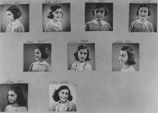 "<p>A page from <a href=""/narrative/142/en"">Anne Frank</a>'s photo album showing snapshots taken between 1935 and 1942. <a href=""/narrative/5543/en"">Amsterdam</a>, the Netherlands.</p>"