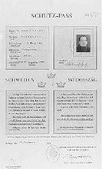 "<p>Swedish protective pass issued to Joseph Katona, the Chief Rabbi of Budapest. Budapest, <a href=""/narrative/6229/en"">Hungary</a>, September 15, 1944.</p>"
