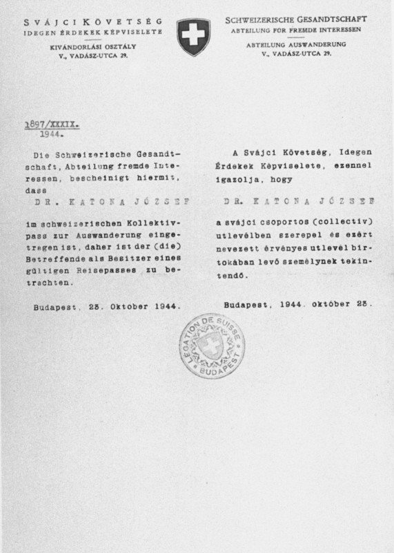 <p>A protective pass issued by the Swiss consulate in Budapest, for Chief Rabbi Joseph Katona. Budapest, Hungary, October 23, 1944.</p>