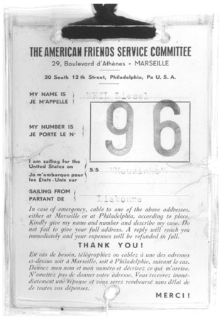 "<p>Identification tag issued to Liesel Weil by the <a href=""/narrative/4339/en"">American Friends Service Committee</a> for her voyage to the United States on board the <em>Mouzinho</em>. More than 100 children sailed to New York aboard the <em>Mouzinho</em>, a Portuguese liner. The transport was sponsored by the American Friends Service Committee, and representatives of several Jewish organizations met the children in New York. Marseilles, France, 1941.</p>"