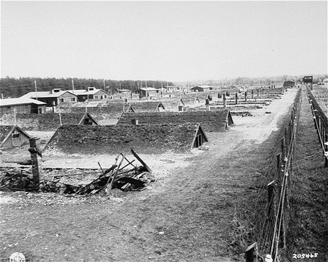 """<p>View of barracks after the liberation of <a href=""""/narrative/8071/en"""">Kaufering</a>, a network of subsidiary camps of the Dachau concentration camp. Landsberg-Kaufering, Germany, April 29, 1945.</p>"""
