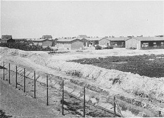 """<p>A view of the <a href=""""/narrative/4469/en"""">Westerbork</a> camp, the <a href=""""/narrative/5566/en"""">Netherlands</a>, between 1940 and 1945.</p> <p>From 1942 to 1944 Westerbork served as a transit camp for Dutch Jews before they were deported to<a href=""""/narrative/10731/en"""">killing centers</a>in German-occupied Poland.</p>"""