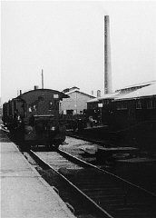 "<p>Train station in the <a href=""/narrative/4469/en"">Westerbork</a> camp. Westerbork, the Netherlands, between 1942 and 1944.</p>