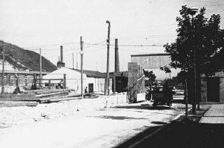 <p>View of the entrance to the Plaszow camp. Plaszow, Poland, 1943-1944.</p>