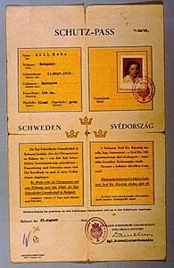 "<p>Protective document issued to a Jewish woman by the Swedish embassy in Budapest, Hungary, in 1944. Such documents protected the bearer from immediate deportation by the Germans to the Auschwitz killing center in occupied Poland. The ""W"" in the lower left corner indicates that Raoul Wallenberg initialed the document.</p>"