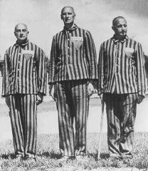 "<p>Prisoners from <a href=""/narrative/5815/en"">Austria</a>, marked with triangles and identifying patches, in the Dachau concentration camp. Germany, April 1938.</p>"