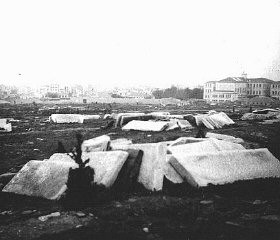 "<p>View of the destroyed Jewish cemetery in German-occupied <a href=""/narrative/5364/en"">Salonika</a>. The tombstones would be used as building materials. Salonika, <a href=""/narrative/4964/en"">Greece</a>, after December 6, 1942.</p>"