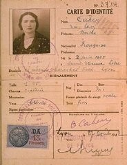 "<p>Identification card of Berthe Levy Cahen, issued by the French police in Lyon, stamped ""Juif"" (""Jew""). France, August 7, 1942.</p>"