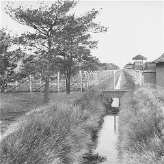 "<p>View of the <a href=""/narrative/15510/en"">Vught</a> transit camp. Vught, the Netherlands, after September 9, 1944.</p>"