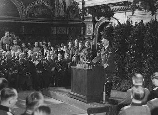<p>Adolf Hitler addresses German officers after the occupation of Danzig. Even before the surrender of Poland, Hitler affirmed the incorporation of the Danzig District into the Greater German Reich. Danzig, September 19, 1939.</p>