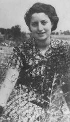 """<p>Jewish <a href=""""/narrative/5666/en"""">parachutist</a> Hannah Szenes at Kibbutz Sedot Yam, a communal agricultural settlement. Palestine, 1942.</p>"""