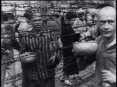 <p>The Mauthausen concentration camp was established shortly after the German annexation of Austria (1938). Prisoners in the camp were forced to perform crushing labor in a nearby stone quarry and, later, to construct subterranean tunnels for rocket assembly factories. US forces liberated the camp in May 1945. In this footage, starving survivors of the Mauthausen concentration camp eat soup and scramble for potatoes.</p>