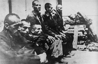 """<p>Serbs interned in the <a href=""""/narrative/5875/en"""">Jasenovac</a> concentration camp in Croatia. Jasenovac, <a href=""""/narrative/6153/en"""">Yugoslavia</a>,1941–45.</p>"""