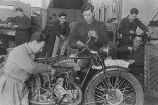 <p>An ORT (Organization for Rehabilitation through Training) auto mechanics class at Landsberg displaced persons camp. This training prepared the students to emigrate to Palestine. Germany, postwar.</p>