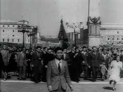 <p>After Italy's armistice with the Allies in September 1943, the Italian army disintegrated. The country was divided between German forces holding the northern and central regions (including Rome) and Allied forces in the south. After nine months of bitter combat, Allied forces—specifically the US Fifth Army—liberated Rome in June 1944. This footage shows scenes of celebration as troops move through Rome. It ends with a prayer by Pius XII (pope, 1939–1958).</p>