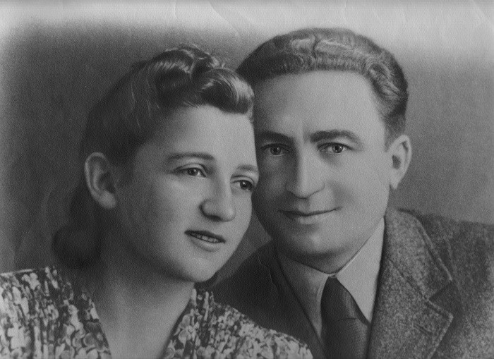 Sonia Orbuch and her husband Isaak after the war on their wedding day.