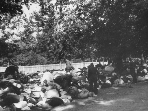 "<p>Soldiers from unidentified units of <a href=""/narrative/2290/en"">Einsatzgruppe</a> C look through the possessions of Jews massacred at <a href=""/narrative/5337/en"">Babi Yar</a>, a ravine near Kiev. Soviet Union, September 29–October 1, 1941.</p>"