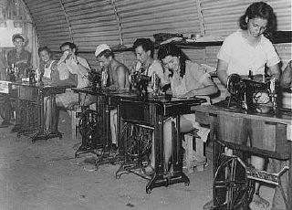 "<p>Jewish refugee youths, prevented by the British from landing in Palestine, learn sewing at a detention camp. The machines were provided by the <a href=""/narrative/5002/en"">American Jewish Joint Distribution Committee</a> (JDC). Cyprus, 1947.</p>"