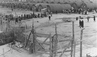 <p>The last group of European Jewish refugees leaves a British detention camp for Israel. Cyprus, February 10, 1949.</p>