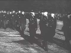 <p>This German newsreel footage shows Vidkun Quisling, leader of the fascist Norwegian Nasjonal Samling party, reviewing his troops. Quisling headed a pro-Nazi puppet regime in Norway during the war.</p>