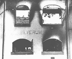 """<p>This building in the town of Elverum, near Oslo, was damaged during a bombing raid following the German invasion of <a href=""""/narrative/6313/en"""">Norway</a>. Elverum, Norway, May 3, 1940.</p>"""