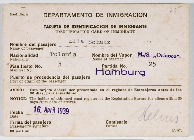 Cuban immigration papers issued to Ella Schatz, a passenger on board the Orinoco, en route to Cuba.