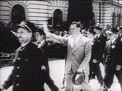 <p>Ante Pavelic was a Croatian fascist leader who headed a pro-German government in Croatia from 1941 until 1945. This captured German newsreel shows Pavelic walking through an adoring crowd and reviewing his units. Under Pavelic's rule, the Croatian government killed hundreds of thousands of Serbs, Jews, and Roma (Gypsies). Pavelic fled to Argentina after the war. He died in 1959 from wounds he received in an assassination attempt two years earlier.</p>
