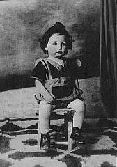 "<p>An 18-month-old Jewish boy, Chaim Leib, who was murdered at the <a href=""/narrative/3673/en"">Auschwitz</a> killing center in occupied Poland. Bukovina, <a href=""/narrative/6527/en"">Romania</a>, 1942.</p>"