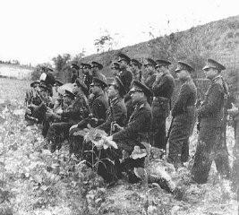 <p>A Romanian firing squad prepares to execute former Romanian prime minister Ion Antonescu. Camp Jivava, near Bucharest, Romania, June 1, 1946.</p>