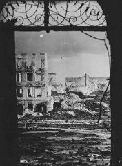 <p>A Polish town in ruins after six years of war and German occupation. Poland, 1945.</p>