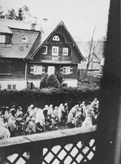 """<p>Clandestine photograph, taken by a German civilian, of <a href=""""/narrative/4391/en"""">Dachau</a> concentration camp prisoners on a <a href=""""/narrative/2931/en"""">death march</a> south through a village on the way to Wolfratshausen. Germany, between April 26 and 30, 1945.</p>"""