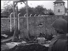 <p>The Mauthausen concentration camp was established shortly after the German annexation of Austria (1938). Prisoners in the camp were forced to perform labor in a nearby stone quarry and, later, to construct subterranean tunnels for rocket-assembly factories. US forces liberated the camp in May 1945. This footage, filmed by US cameramen, shows scenes in the camp, American care of the liberated prisoners, and Austrian civilians loading bodies of victims onto carts for burial.</p>
