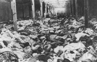 "<p>Scene after the <a href=""/narrative/2317/en"">liberation</a> of the <a href=""/narrative/3673/en"">Auschwitz</a> camp: a warehouse of clothes that belonged to women who were murdered there. Auschwitz, Poland, after January 1945.</p>"