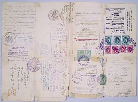 "<p>Many refugees had difficulties replacing lost or invalidated personal identification documents. The certificate of Polish citizenship shown here was valid in place of a passport. A Polish Jewish refugee used this certificate to travel legally from Lithuania, through the Soviet Union, to Japan. It contains the Curacao notation needed to obtain Soviet and Japanese visas. The bearer of this certificate aimed to reach Palestine, but ended up spending most of the war in Calcutta, India, part of the British Commonwealth of Nations. [From the USHMM special exhibition <a href=""/narrative/10592/en"">Flight and Rescue</a>.]</p>"
