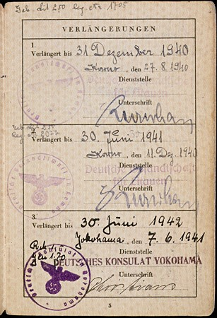 <p>Page 5 of a passport issued to Setty Sondheimer by the German Consulate in Kovno on January 29, 1938. This page contains three visas: (1) visa for Kovno valid from August 27, 1940, until December 31, 1940 (2) a second visa for Kovno valid until June 30, 1941, and (3) first visa for Yokohama, Japan, valid from June 7, 1941, until June 30, 1942. Unable to emigrate from Japan, Setty remained there until she was able to emigrate to the United States in 1947. [From the USHMM special exhibition Flight and Rescue.]</p>
