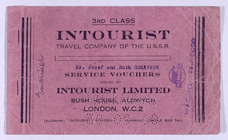 "<p>Voucher for travel on the Trans-Siberian Railroad purchased at the ""Intourist Travel Company of the USSR"" in England for Joseph and Ruth Schaffer. Thousands of Jewish refugees fled Nazi Europe on the Trans-Siberian Railroad through the Soviet Union to Japan with the help of Japanese visas provided by Japanese diplomat Chiune Sugihara. [From the USHMM special exhibition Flight and Rescue.]</p>"