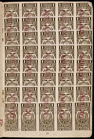 "<p>A page in a passport belonging to Setty Sondheimer containing stamps from Ecuador. These stamps are marked in red with the word ""Anulado,"" the Spanish word for ""canceled."" The stamps were canceled when Setty's visa for Ecuador expired because she was unable to travel across the Pacific due to fighting in that theater. Setty remained in Japan for the duration of the war and emigrated to the United States in 1947. [From the USHMM special exhibition Flight and Rescue.]</p>"