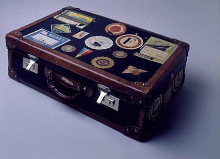 <p>A few Polish Jewish refugees left Japan to join a small Jewish community in Harbin, Manchuria, in Japanese-occupied China. One of them carried this suitcase, covered with stickers from various shipping firms and hotels, on the journey to Harbin. China, 1940-1941. [From the USHMM special exhibition Flight and Rescue.]</p>