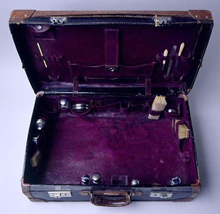 <p>A small group of Jewish refugees left Japan to join a small Jewish community in Harbin, Manchuria, in Japanese-occupied China. This image shows the interior of a leather suitcase carried by one of them to Harbin, China, 1940-1941. [From the USHMM special exhibition Flight and Rescue.]</p>