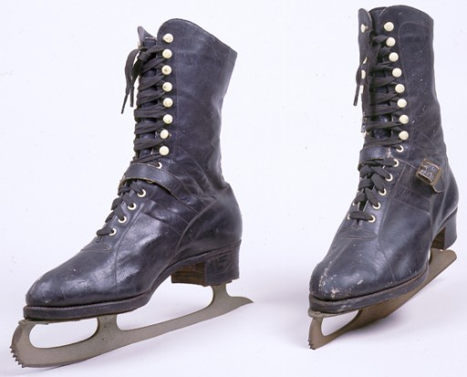 <p>These ice skates were among the few personal belongings Hanni Sondheimer took with her on her journey from Kaunas (Kovno) to Shanghai. Hanni, who was then only a teenager, also carried a pair of red shoes and a picture of Gary Cooper. [From the USHMM special exhibition Flight and Rescue.]</p>