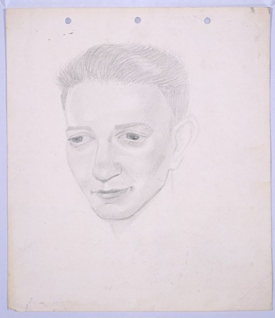 <p>Portrait of Semek Kushner, in pencil, by Yonia Fain. Kushner's father and brother were killed in Shanghai near the end of the war during an American air raid on Hongkew. [From the USHMM special exhibition Flight and Rescue.]</p>