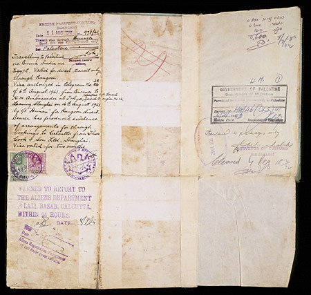 """<p>This page of a Polish citizenship certificate issued to Samuel Solc contains two visas. The first (left), stamped by the British Passport control in Shanghai, allowed Samuel to travel to Palestine via Burma, India, Egypt, and Rangoon. The second visa (right) bears the British Mandate """"Government of Palestine"""" stamp, dated February 6, 1942, and allowed Samuel to remain in Palestine permanently. [From the USHMM special exhibition Flight and Rescue.]</p>"""